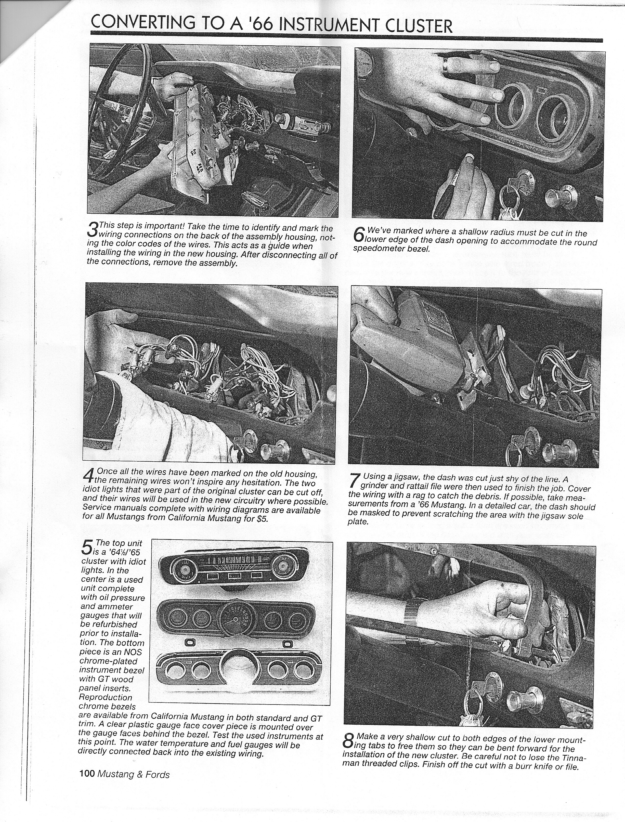 Replace 64 Or 65 Falcon Instrument Cluster With A 66 Mustang 1998 Dash Wiring Diagram Page 2